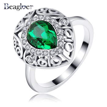 Luxury Green Queen Ring Silver Color Pave Austrian Crystals Engagement Rings European Style Ri-HQ1141-B
