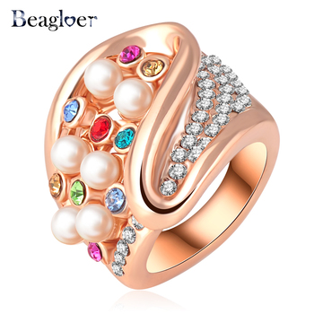Beagloer Rose Gold Plating Noble Multicolor Austrian Crystal Engagement Rings Wedding Jewelry Ri-HQ0203