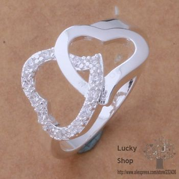AR413 925 sterling silver ring, 925 silver fashion jewelry, double heart connected /bynakpua fwfaonma