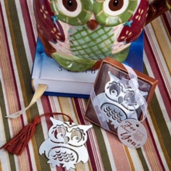 (30pcs/Lot)+Cute Owl Design Silver Finish Metal Bookmark Baby Birthday Party Souvenir Giveaway for Guest