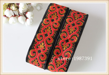 10yards/lots Woven Jacquard Ribbon 5cm black background red totem pattern LS-6760