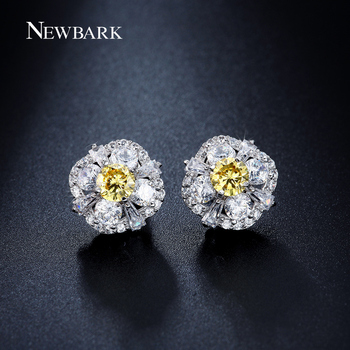 NEWBARK Flower Push-back Earring Yellow Cubic Zirconia Plant Shape Stud Earrings Jewelry Classic Wedding Jewelry For Women Gift